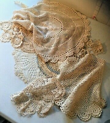 Vintage 9 Hand Crocheted Doilies Lot Wedding Shabby Chic Lace Table Toppers