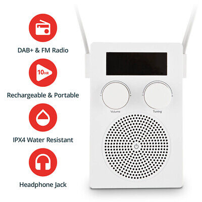 Water Resistant Shower Radio DAB + FM Rechargable Bluetooth Speaker