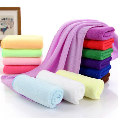 BU_ FT- Water Absorbent Microfiber Towel Washing Solid Color Fast Drying Hand To