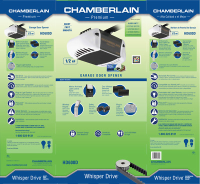 CHAMBERLAIN WHISPER DRIVE 1/2 HP Belt Drive Garage Door Opener with