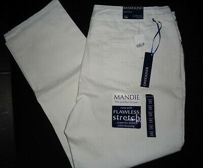 "NWT Ladies White Bandolino ""Mandie""  Perfect Fit Straight Leg Jeans Size 18Short"