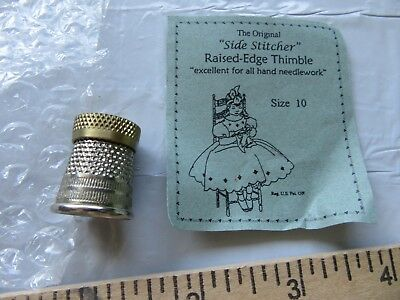 "Sewing Thimble,""Side Stitcher"" raised edge, made in USA, size 10"