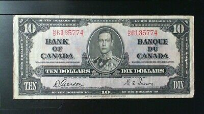 1937 Bank Of Canada  ($10.00 ) Ten Dollar Banknote  Gordon Towers