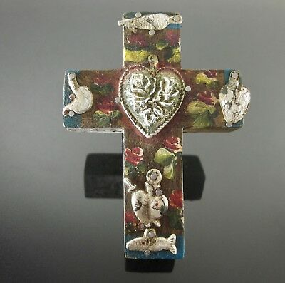 "Sacred Heart Tin Milagros Cross Mexican Wood Wall Hanging 4.4""H Folk Art"