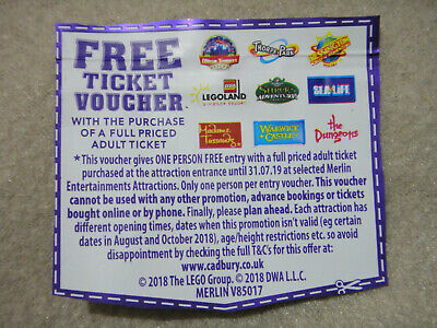 1 x Free Ticket Voucher Coupon Merlin Alton Towers Thorpe Park Legoland 2 for 1