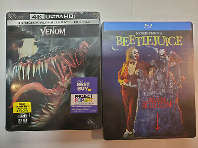Venom 4K+Blu-ray+Digital OOP Best Buy STEELBOOK & Beetlejuice Blu-ray Steelbook
