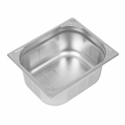 Vogue Heavy Duty Stainless Steel Perforated 1/2 Gastronorm Pan 150mm [DY178]