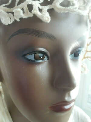 Vintage Female Bust Mannequin Head Form Wig Hat Jewelry Display Beautiful