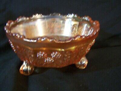 Antique Carnival Glass FENTON Butterfly & Berry Marigold Footed Bowl NICE!
