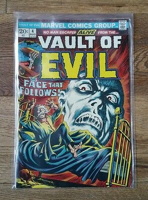 VAULT OF EVIL No.4 THE FACE THAT FOLLOWS MARVEL Comic Aug 1973