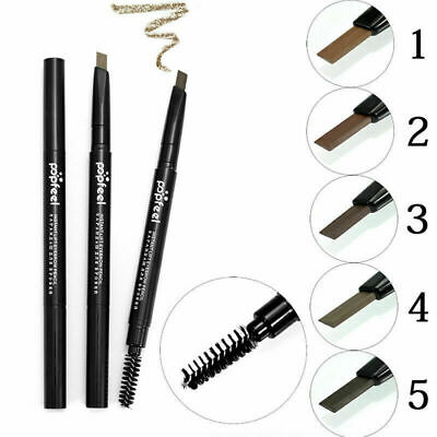 Popfeel 2 in 1 Waterproof Eye Brow Eyeliner Eyebrow Pen Pencil With Brush H S8V1