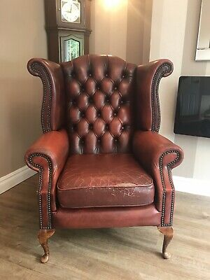 Chesterfield Queen Anne Oxblood Red Leather Wing Back Chair