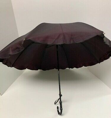 Euc Antique Parasol Mourning Plum Black Silk Plastic Handle Steampunk Goth 20""