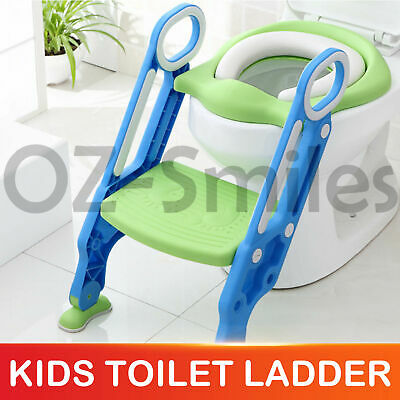 Kids Toilet Seat Ladder Baby Toddler Potty Training Step Trainer Non Slip Safety