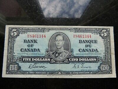1937 BANK OF CANADA $ 5 FIVE DOLLARS BC-22b GORDON TOWERS U/C 8461344
