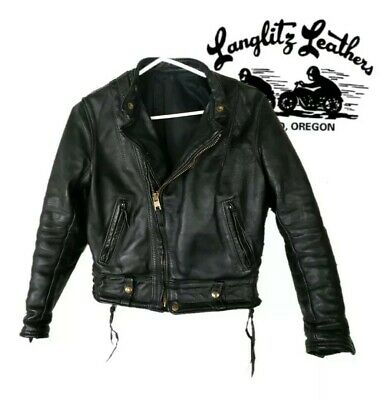 Vintage Langlitz Cascade Moto Leather Jacket Unisex Ladies Mens Kids XS - Small