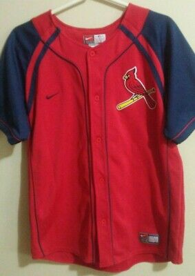 efb5b321 NEW YOUTH BOYS Kids NIKE Fit St Louis CARDINALS Red Blue Baseball ...
