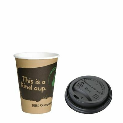 Special Offer Fiesta Green 8oz Compostable Hot Cups and Lids x 50 [SA483]