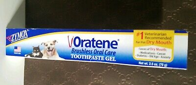 Zymox Oratene Brushless Gel Dog Pet Cat Oral Toothpaste Formula 2.5 oz