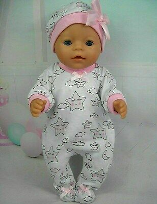 """Dolls clothes for 17"""" Baby Born doll~PINK SLEEPY MOON & STARS JUMPSUIT & HAT"""