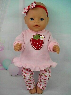 """Dolls clothes for 17"""" Baby Born~Cabbage Patch doll~STRAWBERRY TOP~LEGGINGS~H'BOW"""