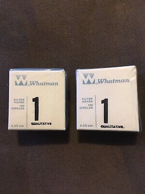 2 Whatman Grade 1 Qualitative Filter Paper 4.25cm 100 Per Box