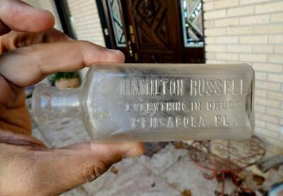 early blown HAMILTON RUSSELL 3iv Pharmacy Medicine Bottle PENSACOLA, FLA 1800's