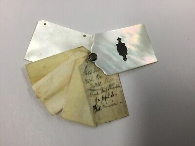 Antique Victorian Mother Of Pearl Notebook Chatelaine Dance Card C.1840