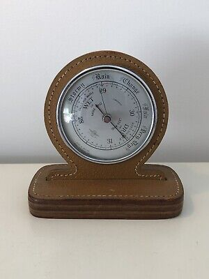 Shortland Smiths Vintage Barometer Real Leather MADE IN ENGLAND Antique Weather
