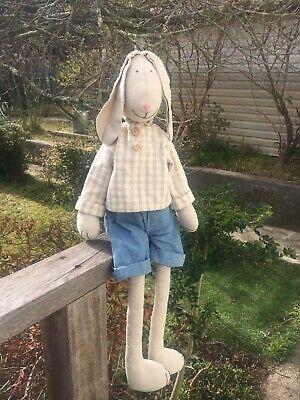 Gorgeous Big 70cm Calico Bunny Rag Cloth Doll Rabbit Weighted Excellent Cond Boy