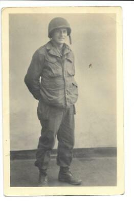 RPPC Real Photo Postcard Portrait of Soldier Private US Army Examiner Uniform