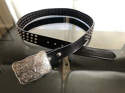 MENS Vintage BLACK Leather TOOLED Silver OX Longhorn WESTERN Buckle STUDDED Belt