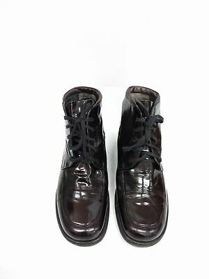 Size 8 Women's Vintage GABOR Black Shiny Classic Lace up leather ankle boots