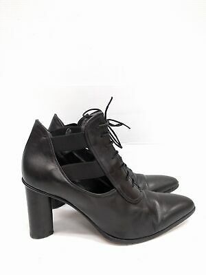 Size 38 CESARE PACIOTTI Italy Ladies BLACK Lace up Cut out leather ankle boots