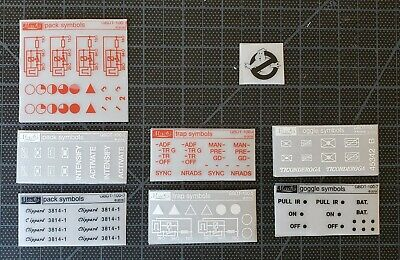 Ghostbusters Proton Pack: Dry Rub Sticker Transfer Sheets