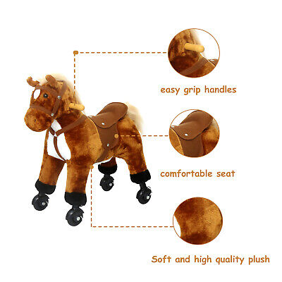 Kids Walking Ride On Horse Toy 4-Wheel Interactive Plush Pony Gift w/ Sound