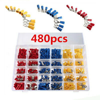 480x Insulated Spade Electrical Crimp Wire Cable Butt Connector Terminal Set