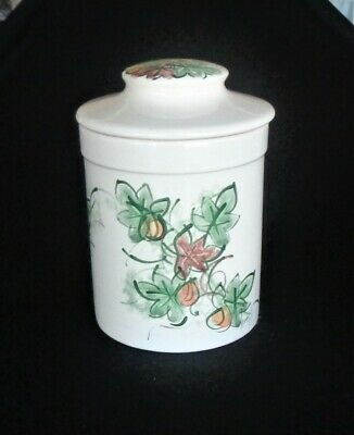 Vintage Hanstan Australia Pottery Canister *Hand Painted Abstract Leaf Design
