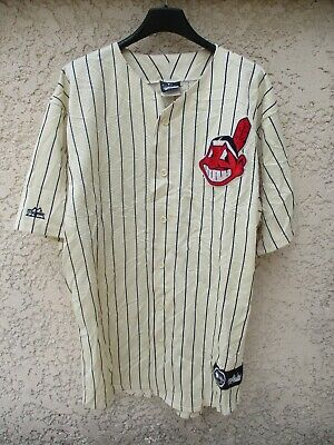 Maillot Chemise Baseball INDIANS CLEVELAND Majestic shirt made in USA vintage L