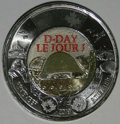 BU UNC Canada 2019 75th D-Day Normandy coloured $2 toonie coin from mint roll