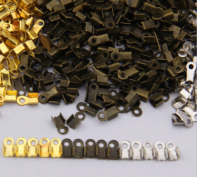 gold Silver bronze Plated Fold Over Cord Crimp End Beads Jewelry Accessories