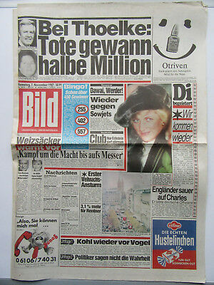 Bild Zeitung vom 7.11.1987, Sophie Marceau, Yves Montand, Lady Di, Eric Clapton,