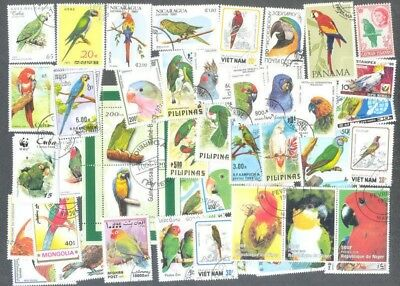 Parrots-- 100 all different stamp collection( a few budgies-Cockatoos etc)