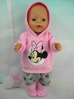 """Dolls clothes for 17"""" Baby Born doll~MINNIE MOUSE PINK HOODIE/ LEGGINGS/BOOTS"""