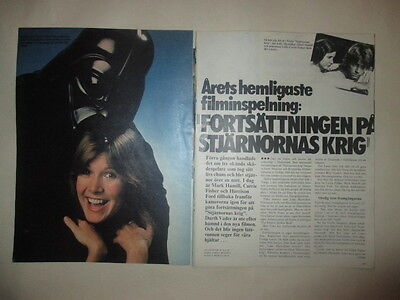 Carrie Fisher Star Wars Mark Hamill Harrison Ford Prowse clippings Sweden 1970s