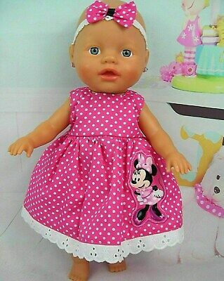 Dolls clothes~32cm Little Baby Born~33cm Baby Alive~PINK SPOT MINNIE MOUSE DRESS