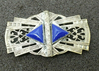 Vintage Ladies Art Deco Belt Buckle Silver toned with blue stones 1920s 1930s
