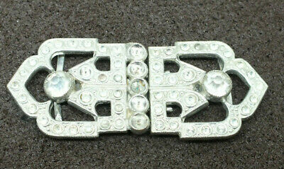 Vintage Art Deco Ladies  Belt Buckle Silver toned with clear stones 1920s 1930s