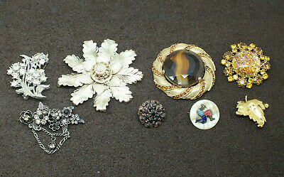 JOB LOT OF 8 VINTAGE GOOD QUALITY  BROOCHES PINS MID 20th CENTURY
