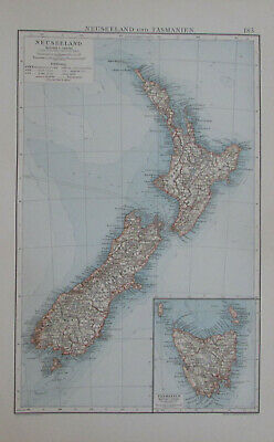 Neuseeland Tasmanien New Zealand 1900 Andrees Handatlas Landkarte old map